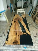 Black Epoxy Resin Dining Custom Table Top Acacia Wooden Luxury Furniture Decors
