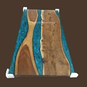 Custom Epoxy Table Acacia Wood Epoxy Blue Resin Table Top Made To Order Decors