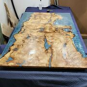 Walnut Kitchen Table Natural Resin River Blue Wood Table Epoxy Table Resort Deco