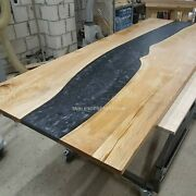 Kitchen Table Natural Resin River Black Wood Table Epoxy Table Resort Office Dec