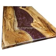 River Table Resin Dining Table Wooden Red Transparent Epoxy Resin Furniture Deco