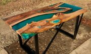Green Resin Dining Table Acacia Wooden Unique Transparent Epoxy River Resin Deco
