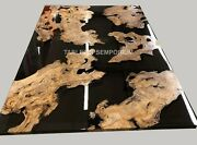 Black Epoxy Bespoke Acacia Black Resin Custom Dining Table Pieces Made To Order