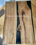 Dining End Or Coffee Table With Epoxy Table, River Table Epoxy Living Furniture