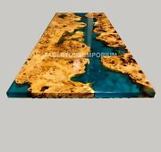 Epoxy Coffee Table With Blue Resin Rivet Walnut Epoxy Table Center Table Decor