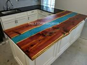 Acacia Wooden Resin River Dining Table Slab For Kitchen Sofa Center/side Table