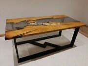 Smoke Epoxy Table Custom Resin Table Kitchen Dining Table Clear River Table