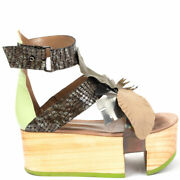 63256 Auth John Galliano Brown Leather Leaf Wooden Platform Sandals Shoes 39