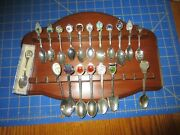 14x10 Wooden Wood Collector's Rack Holds 22 Souvenir Spoons W/lot 19 Spoons