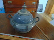 Very Rare Antique Gray Graniteware W/ Pewter Butter Dish W/ Lid And Ice Tray