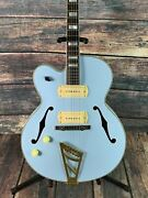Dand039angelico Left Handed Deluxe 59 Hollow Body Electric Guitar- Matte Powder Blue