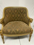 Neoclassical Empire Chair With A Barrel Back With Ramshead Armrest, And fabric.