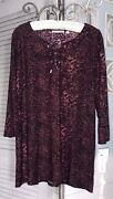 New Plus Size 2x Burgundy Red Shirt Tunic Top Lace Up Notations Blouse