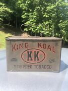 King Koal Stripped Tobacco Tin Lunchbox Antique Advertising Can Mining Railroad