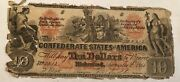 Confederate States Of America 10 Note T-22 Indian 9/2/1861. Tattered Edges. Rr