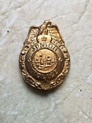 Vintage 1950andrsquos Gold Junior Police Badge Detective Eagle Metal With Pin