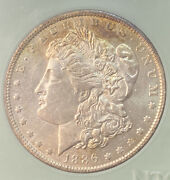 1886-o Morgan Silver Dollar Mint State Ms Key Date Attractive Toned 63