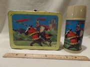 Rare-vintage 1959 Knights In Armor Metal Lunchbox With Matching Thermos