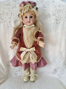Sfbj 19 French Antique 60 Bisque Head Doll Original Wood Body Beautiful Outfit