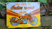 Old Vintage Dated 1938 Indian Scout 45 Motorcycle Porcelain Sign Motorcycles