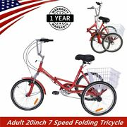 Adult Folding Tricycle 7 Speed 3 Wheel Foldable Trike Bike Red With Large Basket