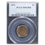 1872 Indian Head Cent Ms-63 Pcgs Red/brown - Sku206897