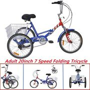 Foldable Adult Tricycle 20'' Folding Trike 7-speed 3 Wheel Bike Blue And Red