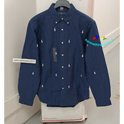 Polo Allover Pony Slim Fit Long Sleeve Button Down Shirt Mens Sz Xl