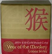 2016 Gold 10 Dollar Proof Coin Lunar - Year Of The Monkey