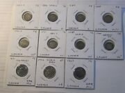 1883h, 1886, 1887, 1888, 1890h, 1891, 1897, 1900, Canada Five Cent Silver Coins