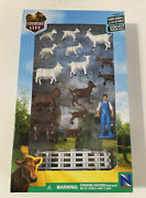 Country Life Farm Animals And Accessories Playset By New Ray Ss-05517 Nib