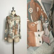 Vintage 70s Novelty Print Train Blouse Size Extra Small