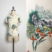Vintage 70s Novelty Print Toile Tee Size Extra Small