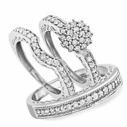 1 Ct Round Cut Diamond Trio Wedding Ring Set 10k Solid White Gold Party Jewelry