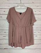 Torrid Womenand039s Plus Size 2 Dusty Rose Pink Ruffle Short Sleeve Summer Top Blouse