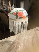 Vintage Hand Painted Glass Flowers And Beads Candle Lamp Shades W/ Fringe
