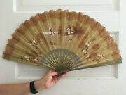 Antique Hand Fan Lace Wooden End Sticks Hand-painted Scene Buy It Now