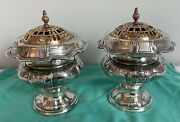 Rare Pair Of Dominick And Haff Sterling Silver Pot Pourri Vases With Brass Grills