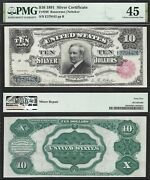 10 1891 Silver Certificate Tombstone Fr. 298 Pmg Choice Extremely Fine 45