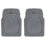 2pc Set Car Floor Mats For All Weather Rubber Semi Custom Fit Heavy Duty Gray