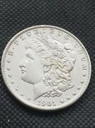 1901-p Morgan Silver Dollar - Ddr - Strongly Doubled Reverse