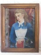 Antique American Folk Art Oil Painting Portrait Young Girl W/ Byron Book