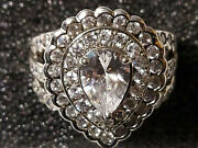 Suzanne Somers Signed Blingy Pear Cz Halo Ring Size 10 S.s. 389 Of 400 Vhtf