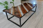 Ultra Resin Clear River Wooden Design Office Center Table Top Handmade Furniture