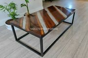 Ultra Clear River Acacia Wooden Designer Office Center Table Handmade Furniture