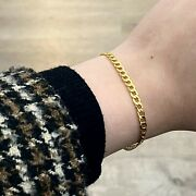 18k Yellow Gold 3mm Curb/ Cuban Chain Bracelet- 7- Made In Italy