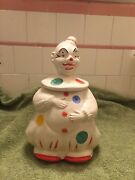 Vintage Clown Cookie Jar Marked Usa 126a American Bisque 1940andrsquos