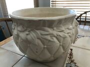 Vintage Mccoy White Pottery 9 By 10 1/2 Quilted Floral Jardiniere Pot