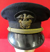 U.s. Naval Officer's Visor Cap With Gold And Silver Bullion Badge