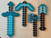 Minecraft Lot Of 4 Diamond Weapons Tools Sword Axe Shovel And Pickaxe Foam 23andrdquo